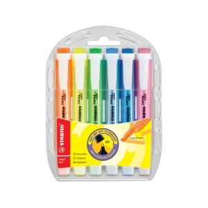 Stabilo Swing Cool Highlighter Chisel Tip 1.0-4.0mm Assorted Colours Set 6