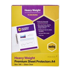 Marbig Sheet Protector Heavy Duty A4 Clear Box 100