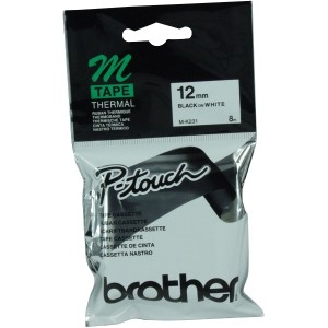 Brother Tape M-K231 Black On White 12mm