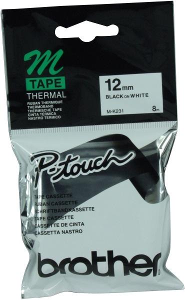 Brother Tape M-K231 Black On White 12mm