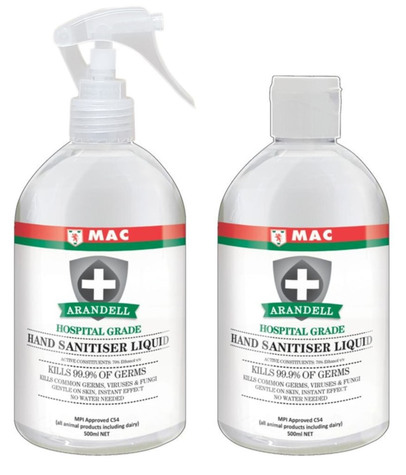 NZ Made Mac Arandell Premium Hand and Surface Sanitiser 500ml 2 Pack With Trigger