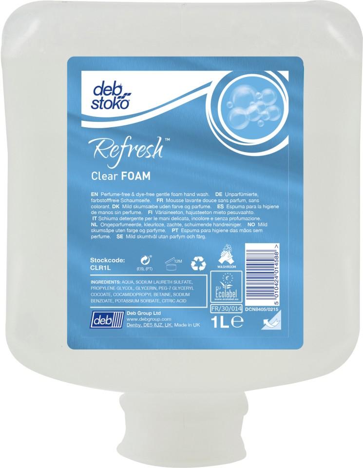 Deb Stoko Refresh Clear Foam Wash Cartridge 1 Litre CLR1L