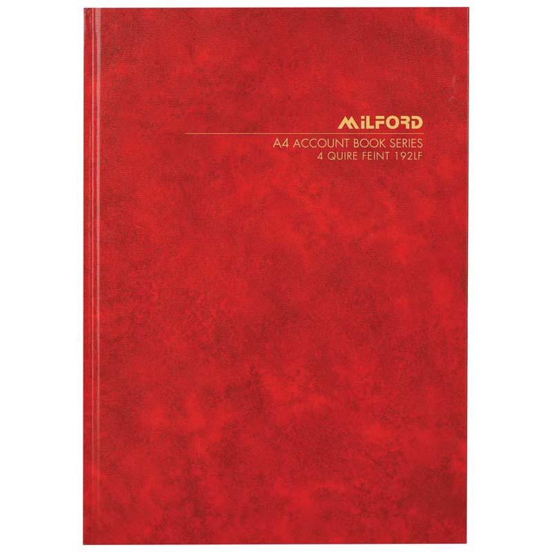 Milford A4 Fsc Mix 70% 192lf (4 Quire) Feint Book Hard Cover