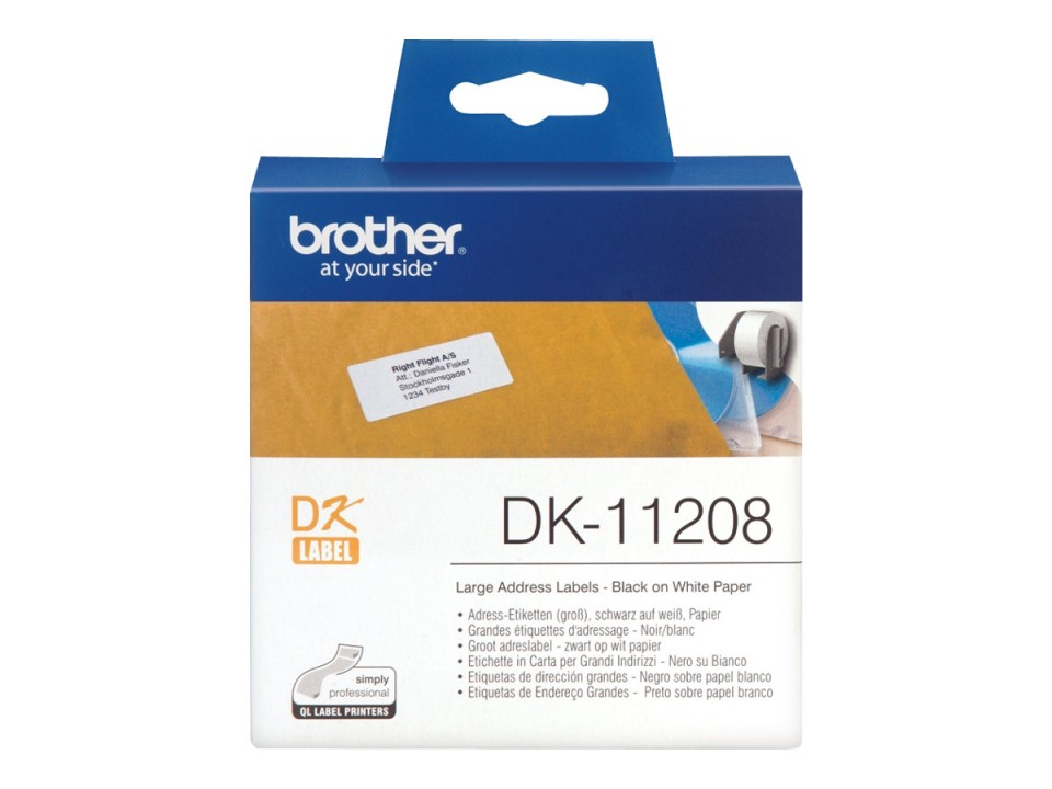 Brother Small Address Labels DK-11208 38X90mm 400 Roll