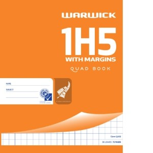1H5 With Margins 255X205mm 36Lf 10mm Quad Exercise Book