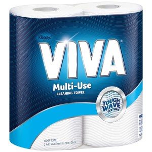 Kleenex VIVA Multi-Use Cleaning Towel 4430 22.5cm x 21cm 60 Sheets per Roll White Pack of 2
