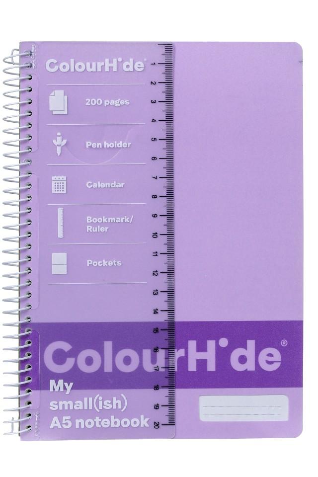 Colourhide Notebook A5 200 Page Purple