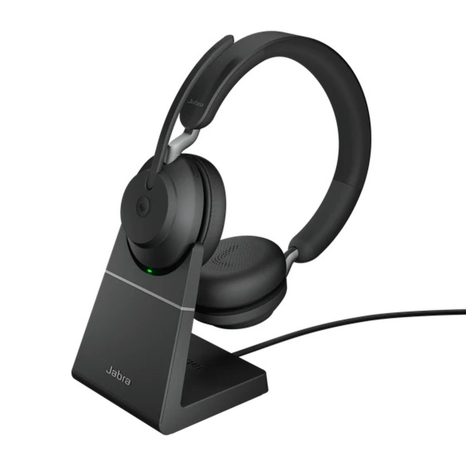 Jabra Evolve2 65 Ms Usb A Bluetooth Over The Head Wireless Stereo Headset With Charging Stand Black