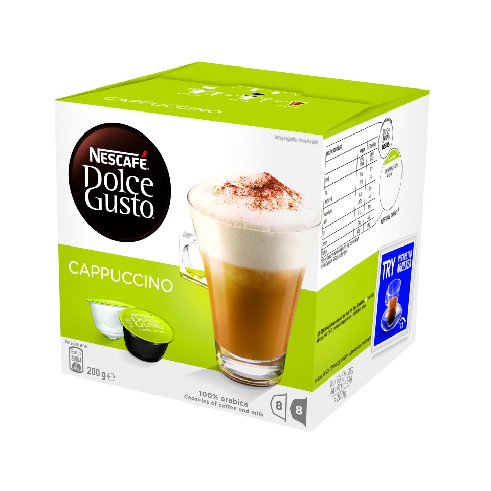 Nescafe Dolce Gusto Cappuccino Coffee Capsules Pack 16