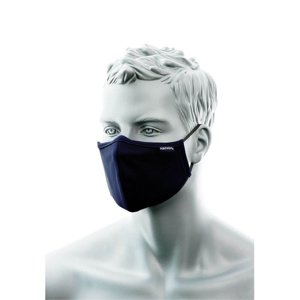 Cv35 3 Ply Anti-microbial Fabric Face Mask With Nose Band Pack/25 - Navy
