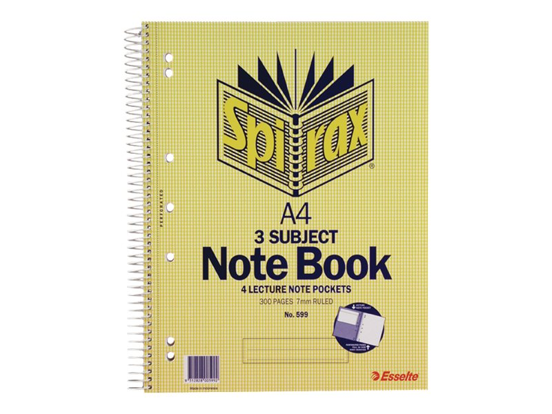 Spirax 599 A4 3-Subject Side Opening Perforated Notebbook 300 Pages