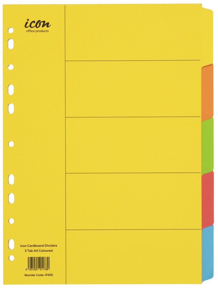 Icon Cardboard Dividers A4 5 Tab Coloured