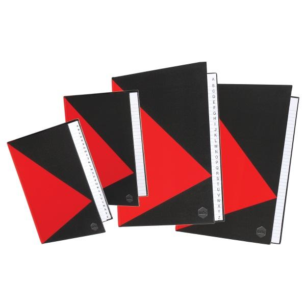 A4 200Pg Indexed Hard Cover Notebook Red & Black
