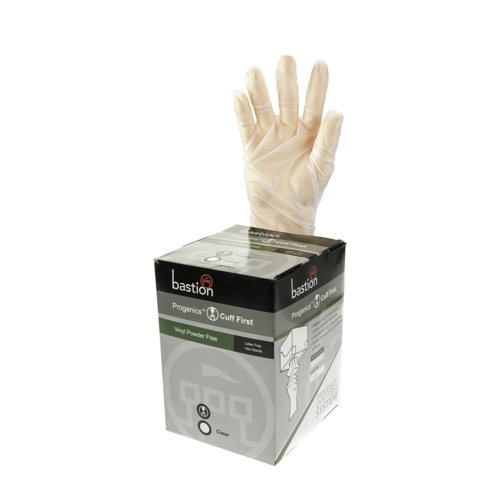 Bastion Progenics Vinyl Powder Free Glove Small Clear Box 200