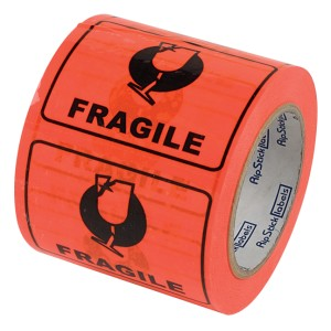 Rip Stick Label Fragile 75mmx100mm Orange Roll 500