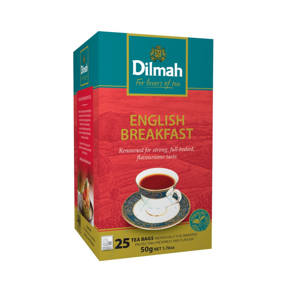 Dilmah Speciality English Breakfast Foil Enveloped Tagged Tea Bags 25s