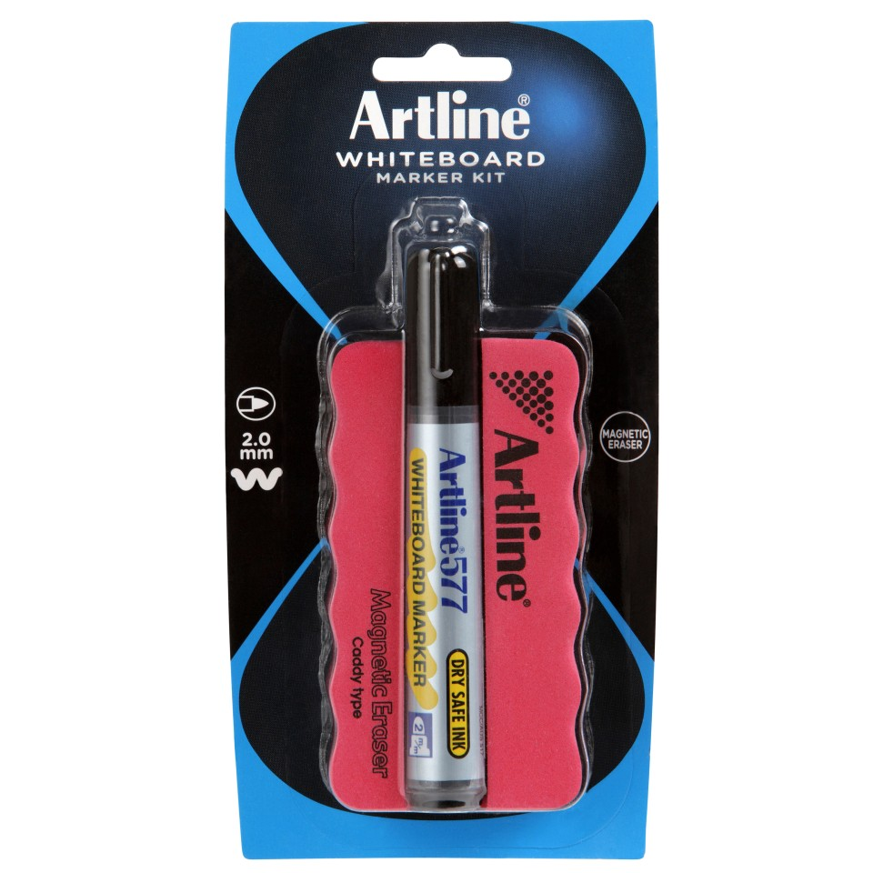 Artline 577 Whiteboard Marker & Magnetic Eraser Set