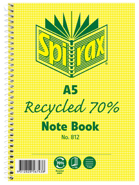 Spirax 812 A5 120 Page Recycled Notebook