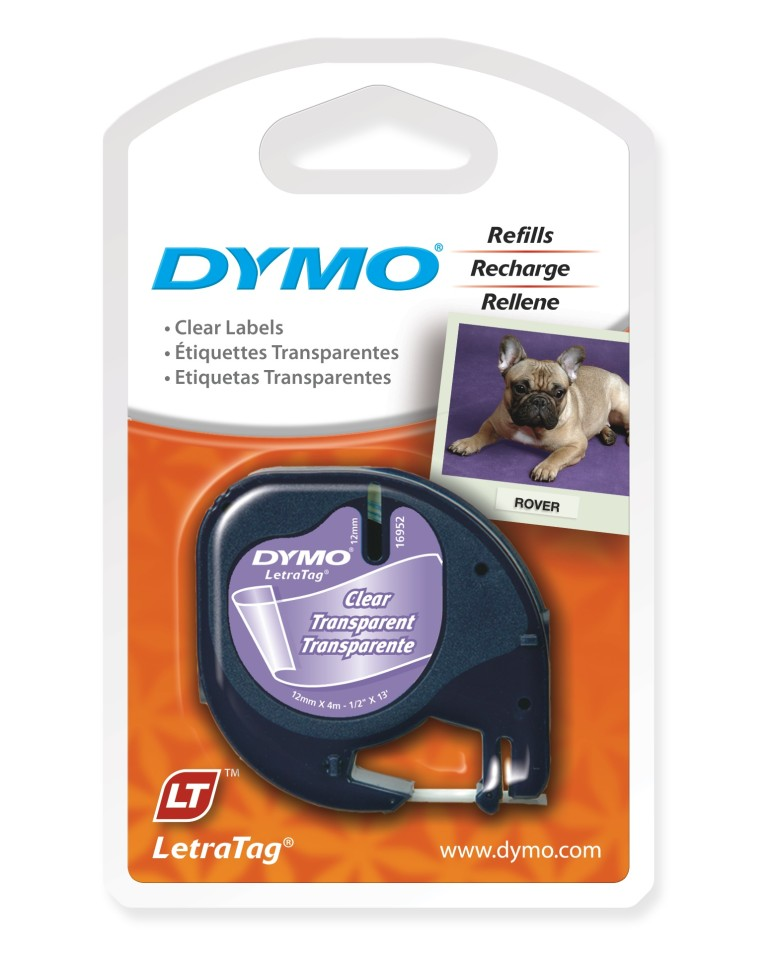 Dymo Letra Tag Tape 12mmx4m Plastic Clear