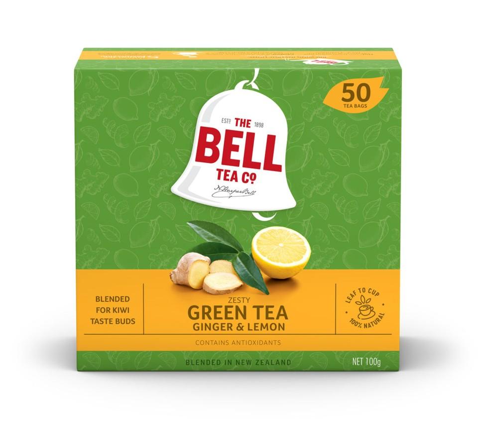 Bell Zesty Lemon & Ginger Green Tagless Tea Bags Box 50