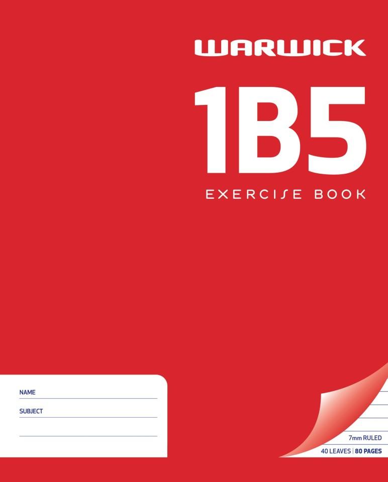 Warwick Exercise Book 1B5 40 Leaf Ruled 7mm 255x205mm