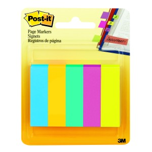 Post-It Page Markers 15 x 50mm Ultra Assorted Pack 5