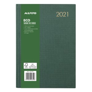 Milford 2021 Hardcover Eco Diary A5 Week To View Green