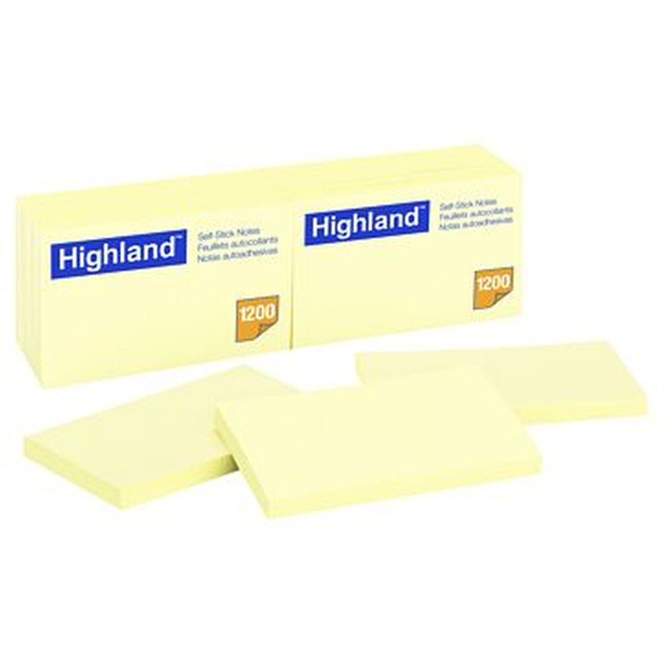 Highland Self Adhesive Removable Sticky Notes 76x76mm Yellow Pack 12