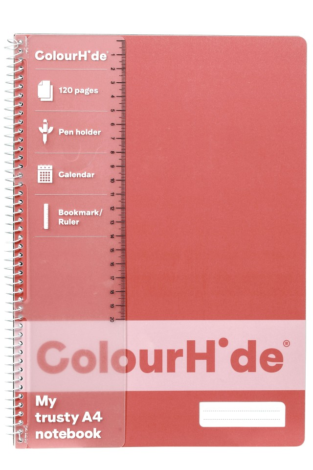 Colourhide Notebook A4 120 Page Coral