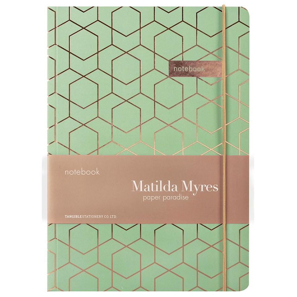 Matilda Myres Notebook A5 192 Page Rose Gold Sage