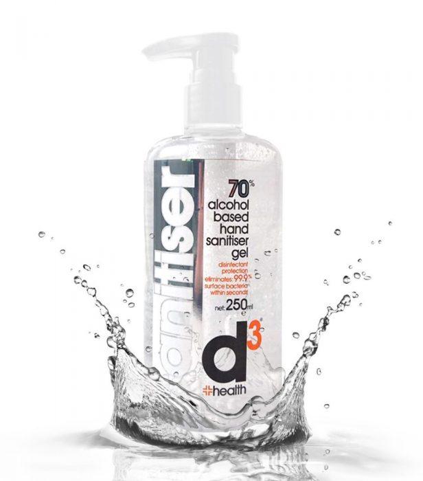 D3 Hand Sanitiser 70%+ Alcohol 250ml Bottle
