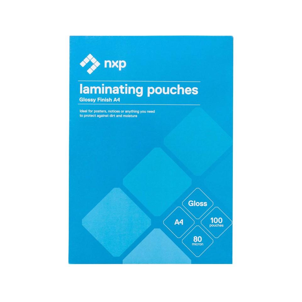 NXP Laminating Pouches Gloss 80 Micron A4 Pack 100
