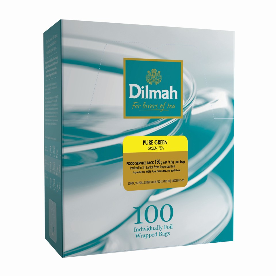Dilmah Pure Natural Green Foil Enveloped Tagged Tea Bags 100s