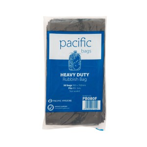 Pacific Hygiene Heavy Duty Rubbish Bag LDPE Black 760mm x 960mm 80 Litre 33 micron Pack of 50