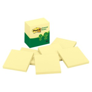 Postit Greener Notes 76X76mm Yellow Pack Of 6 Pads
