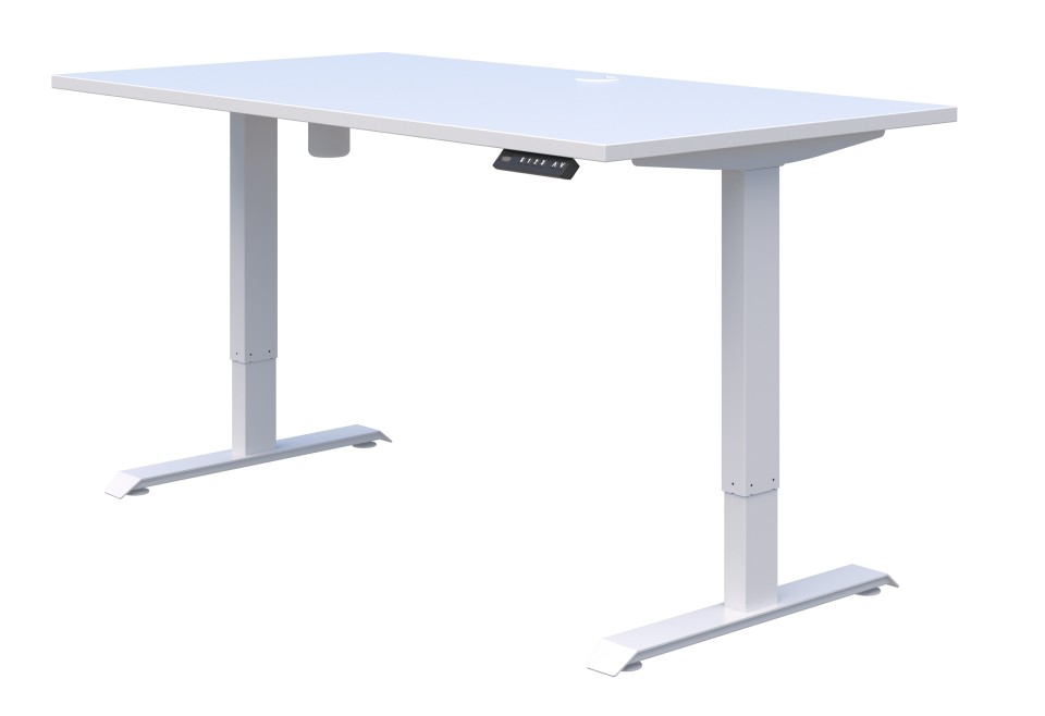 Duo II Electric Desk 1200L x 700D Snowdrift Top with White Frame - Height Adjust