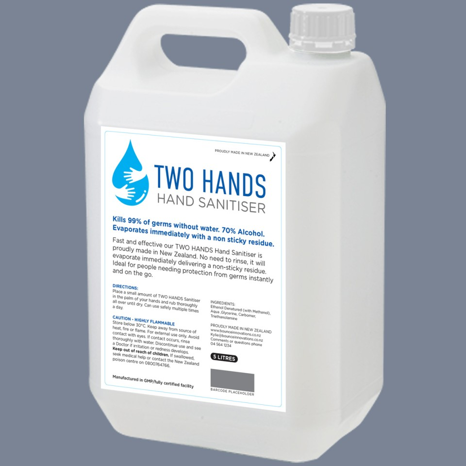 Two Hands Alcohol Hand Sanitiser 5l