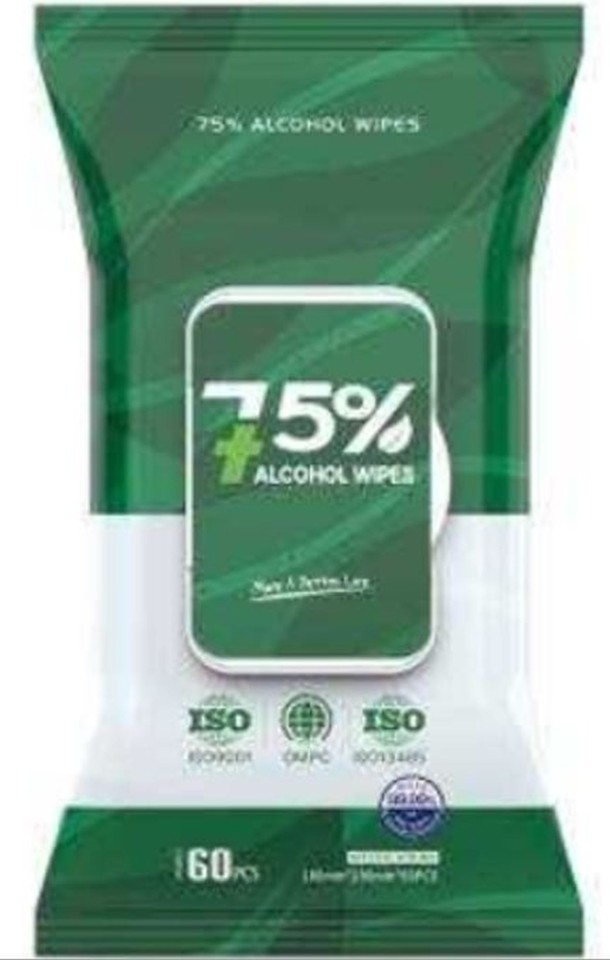 Wet Wipes 75% Alcohol 60 Pack