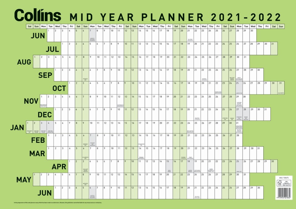 Collins Mid Year 2021-2022 Wall Planner Laminated A2