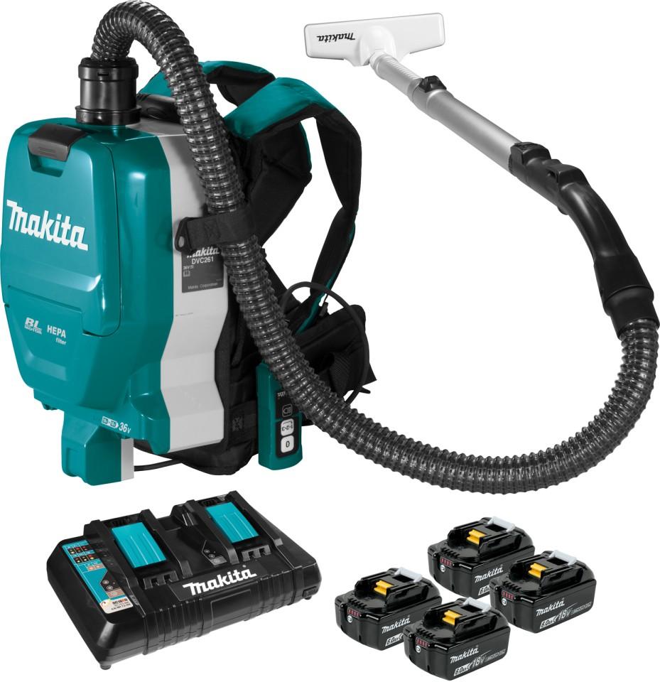Makita 18v x 2 Cordless Brushless Backpack Hepa Vacuum Cleaner 6.0ah Kit DVC261GX21