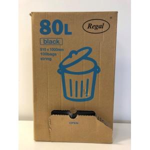 Rubbish Bag LDPE 80 Litre Black 1000mm x 810mm 33 micron Box of 100