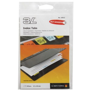 3L Index Tab 40mm Coloured 48 Pack
