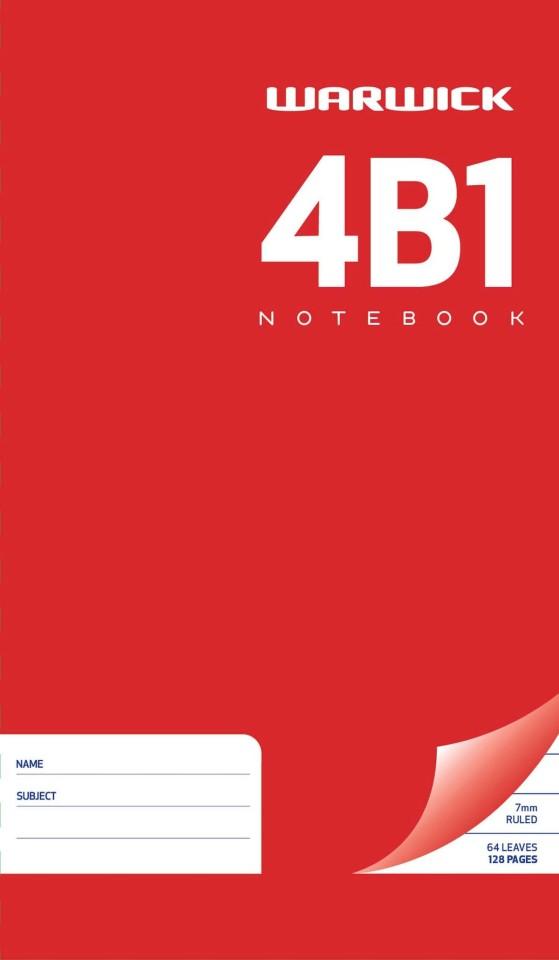 Warwick Notebook 4B1 64 Leaf Ruled 7mm 165x100mm