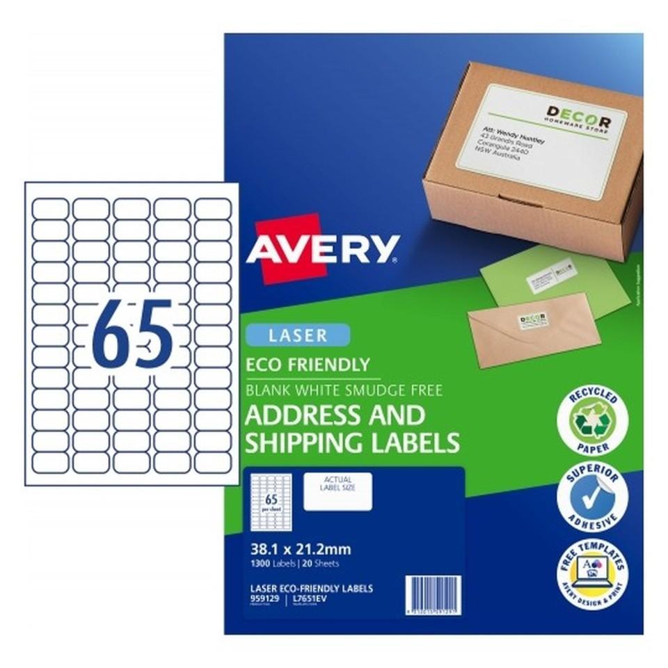 Avery Eco Address Laser 38.1x21.2mm 65up White  Pack 20 Sheets 1300 Labels (959129/L7651EV)
