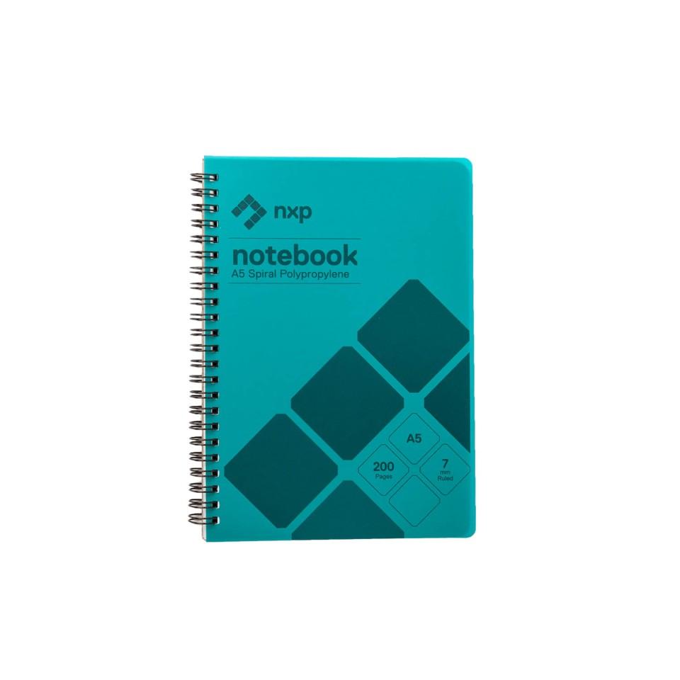 NXP Spiral Notebook A5 Polypropylene 200 Pages Aqua