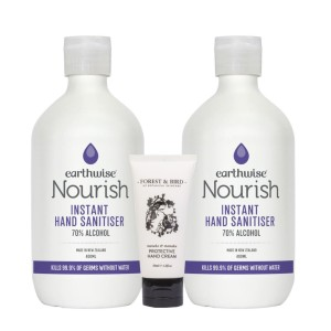 NZ Made Earthwise Premium Hand Sanitiser 400ml 2 Pack Plus Free Forest And Bird Hand Cream 50ml