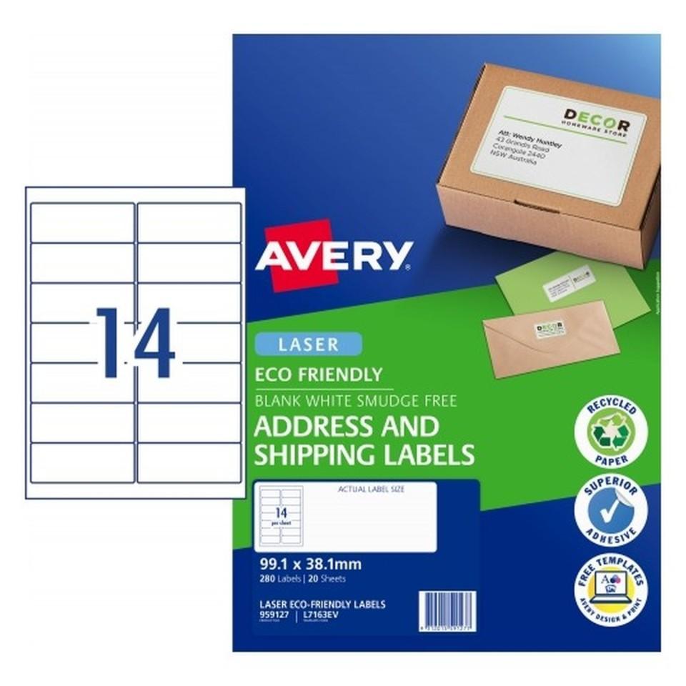 Avery Eco Address Laser 99.1x38.1mm 14up White Pack 20 Sheets 280 Labels (959127/L7163EV)