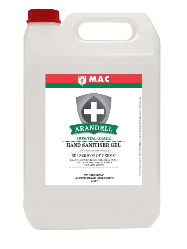 MAC Arandell Premium NZ Made Hand Sanitiser Liquid 5 Litre