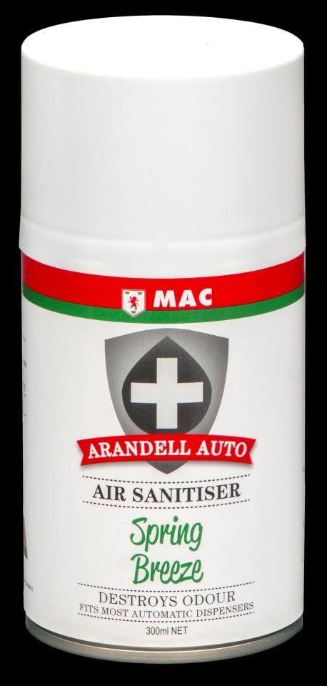 Mac Arandell Auto Air Sanitiser Spray Spring Breeze 300ml ARANSP3A Carton of 12