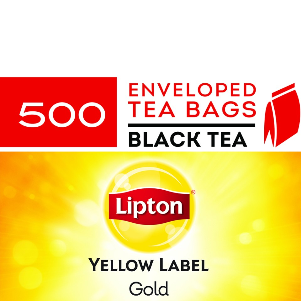Lipton Yellow Label Gold Black Enveloped Tea Bags Carton 500